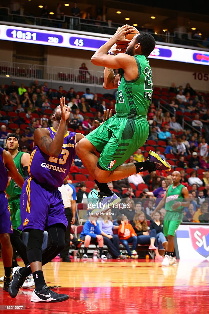 Austin Freeman of the Iowa Energy hovers in the paint past Travis Hyman of the Los Angeles DFenders in an NBA DLeague game on April 5 2014 at the...