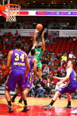 Austin Freeman of the Iowa Energy shoots over Shawne Williams of the Los Angeles DFenders in an NBA DLeague game on April 5 2014 at the Wells Fargo...