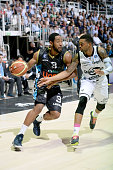 Austin Freeman of Upea competes with Allan Ray of Granarolo during the match between Granarolo Bologna and Upea Capo d'Orlandoe at Unipol Arena on...