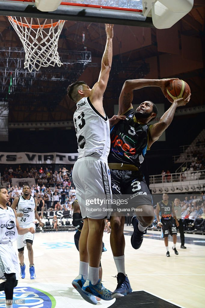 Austin Freeman of Upea competes with Simone Fontecchio of Granarolo during the match between Granarolo Bologna and Upea Capo d'Orlandoe at Unipol...