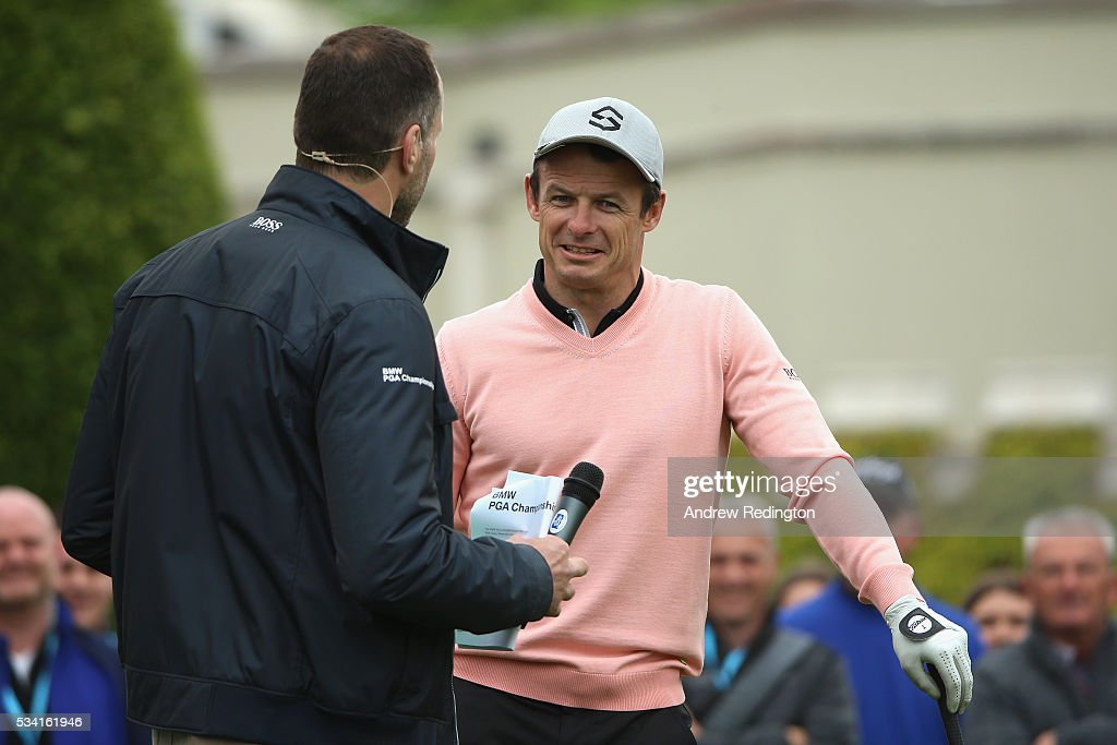 <a gi-track='captionPersonalityLinkClicked' href=/galleries/search?phrase=Austin+Healey&family=editorial&specificpeople=211535 ng-click='$event.stopPropagation()'>Austin Healey</a> is interviewed during the Pro-Am prior to the BMW PGA Championship at Wentworth on May 25, 2016 in Virginia Water, England.