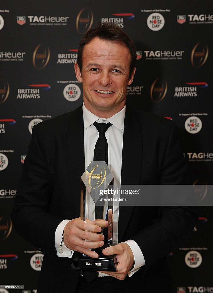 Austin Healy is inducted into the Hall of Fame during the inaugural Premiership Rugby Hall of Fame Ball at the Hurlingham Club on February 7, 2013 in London, England.