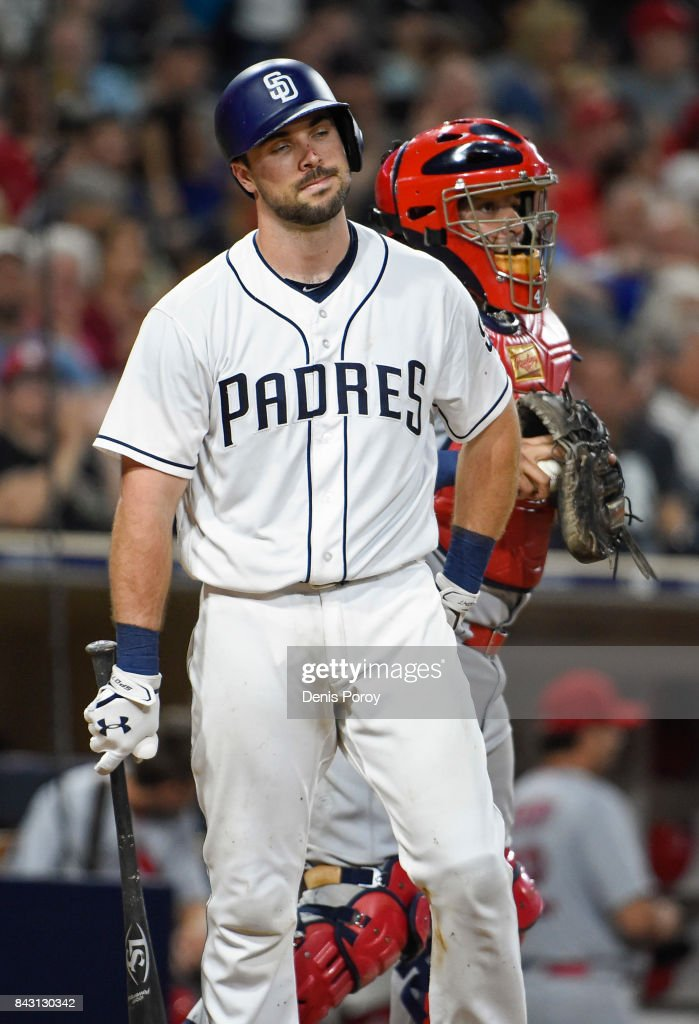 Austin Hedges #18 of the San Diego Padres reacts after a called strike out during the sixth inning of a baseball game against the St. Louis Cardinals at PETCO Park on September 5, 2017 in San Diego, California.
