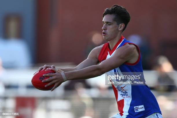 Austin Hodge of the Power kicks the ball during the round three TAC Cup match between XXXX and XXXX at Queen Elizabeth Oval on April 8 2017 in...