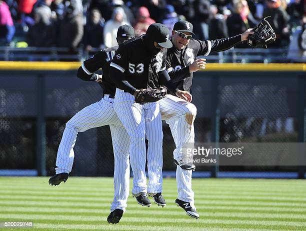 Austin Jackson Melky Cabrera and JB Shuck celebrate their win against the Cleveland Indians on April 9 2016 at U S Cellular Field in Chicago Illinois...