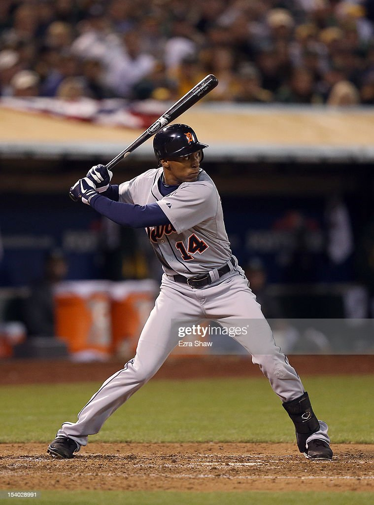 <a gi-track='captionPersonalityLinkClicked' href=/galleries/search?phrase=Austin+Jackson&family=editorial&specificpeople=608633 ng-click='$event.stopPropagation()'>Austin Jackson</a> #14 of the Detroit Tigers bats against the Oakland Athletics during Game Five of the American League Division Series at Oakland-Alameda County Coliseum on October 9, 2012 in Oakland, California.