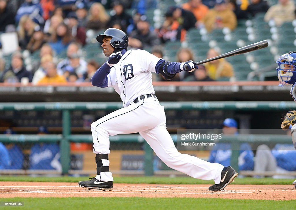 <a gi-track='captionPersonalityLinkClicked' href=/galleries/search?phrase=Austin+Jackson&family=editorial&specificpeople=608633 ng-click='$event.stopPropagation()'>Austin Jackson</a> #14 of the Detroit Tigers bats during the game against the Kansas City Royals at Comerica Park on April 24, 2013 in Detroit, Michigan. The Tigers defeated the Royals 7-5.