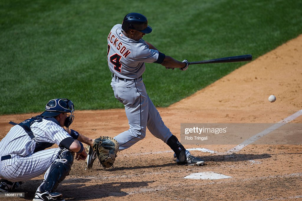 Austin Jackson #14 of the Detroit Tigers bats during the game against the New York Yankees at Yankee Stadium on August 11, 2013 in the Bronx borough of Manhattan.