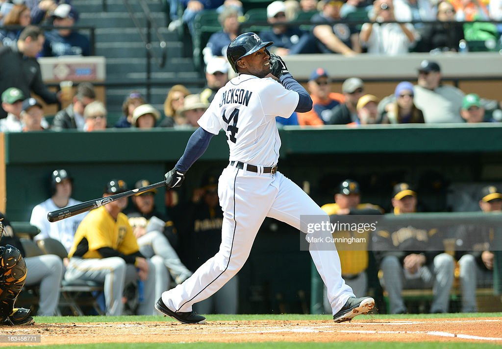 <a gi-track='captionPersonalityLinkClicked' href=/galleries/search?phrase=Austin+Jackson&family=editorial&specificpeople=608633 ng-click='$event.stopPropagation()'>Austin Jackson</a> #14 of the Detroit Tigers bats during the spring training game against the Pittsburgh Pirates at Joker Marchant Stadium on March 2, 2013 in Lakeland, Florida. The Tigers defeated the Pirates 4-1.