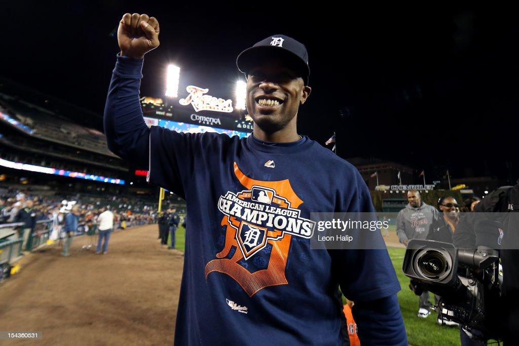 <a gi-track='captionPersonalityLinkClicked' href=/galleries/search?phrase=Austin+Jackson&family=editorial&specificpeople=608633 ng-click='$event.stopPropagation()'>Austin Jackson</a> #14 of the Detroit Tigers celebrates on the field after the Tigers own 8-1 against the New York Yankees during game four of the American League Championship Series at Comerica Park on October 18, 2012 in Detroit, Michigan.