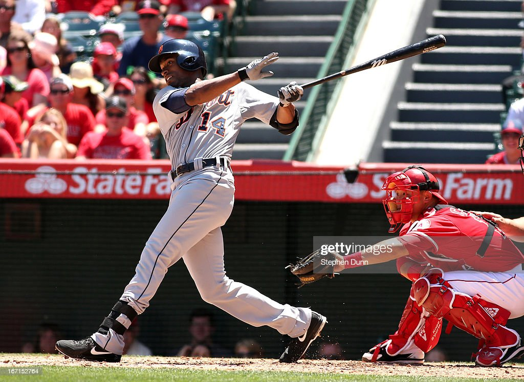 <a gi-track='captionPersonalityLinkClicked' href=/galleries/search?phrase=Austin+Jackson&family=editorial&specificpeople=608633 ng-click='$event.stopPropagation()'>Austin Jackson</a> #14 of the Detroit Tigers hits into a fielders choice but picks up an RBI as Jhonny Peralta scores from third in the second inning against the Los Angeles Angels of Anaheim at Angel Stadium of Anaheim on April 21, 2013 in Anaheim, California.