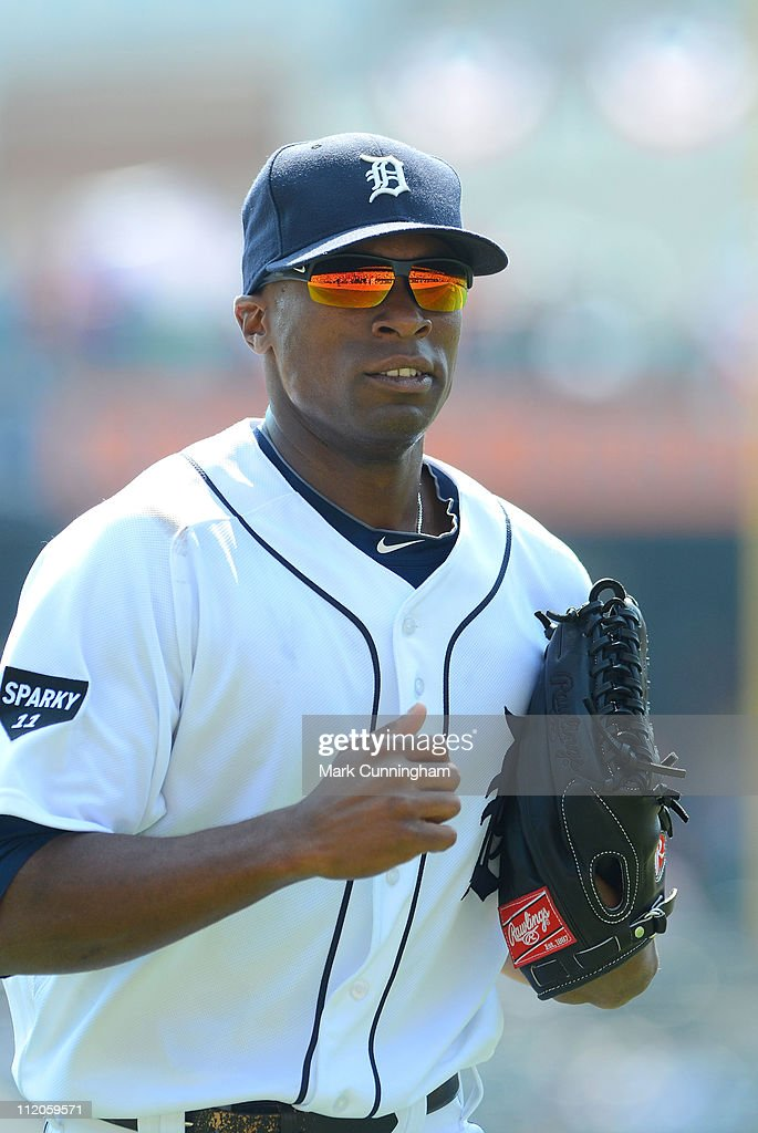 Austin Jackson #14 of the Detroit Tigers looks on against the Kansas City Royals during the game at Comerica Park on April 10, 2011 in Detroit, Michigan. The Royals defeated the Tigers 9-5.