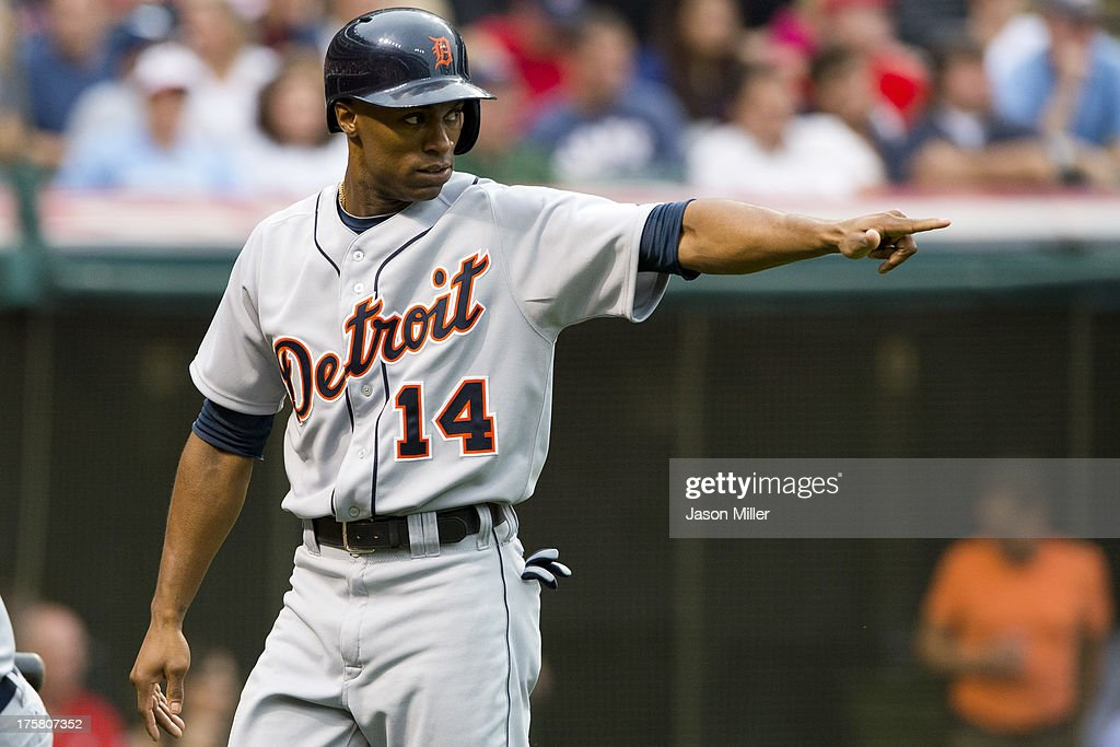 <a gi-track='captionPersonalityLinkClicked' href=/galleries/search?phrase=Austin+Jackson&family=editorial&specificpeople=608633 ng-click='$event.stopPropagation()'>Austin Jackson</a> #14 of the Detroit Tigers points to Prince Fielder #28 after he scored on a double by Fielder during the third inning against the Cleveland Indians at Progressive Field on August 8, 2013 in Cleveland, Ohio.