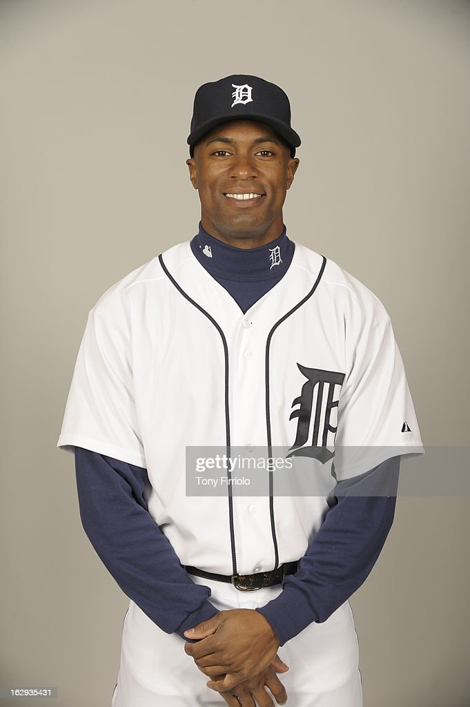 <a gi-track='captionPersonalityLinkClicked' href=/galleries/search?phrase=Austin+Jackson&family=editorial&specificpeople=608633 ng-click='$event.stopPropagation()'>Austin Jackson</a> #14 of the Detroit Tigers poses during Photo Day on February 19, 2013 at Joker Marchant Stadium in Lakeland, Florida.