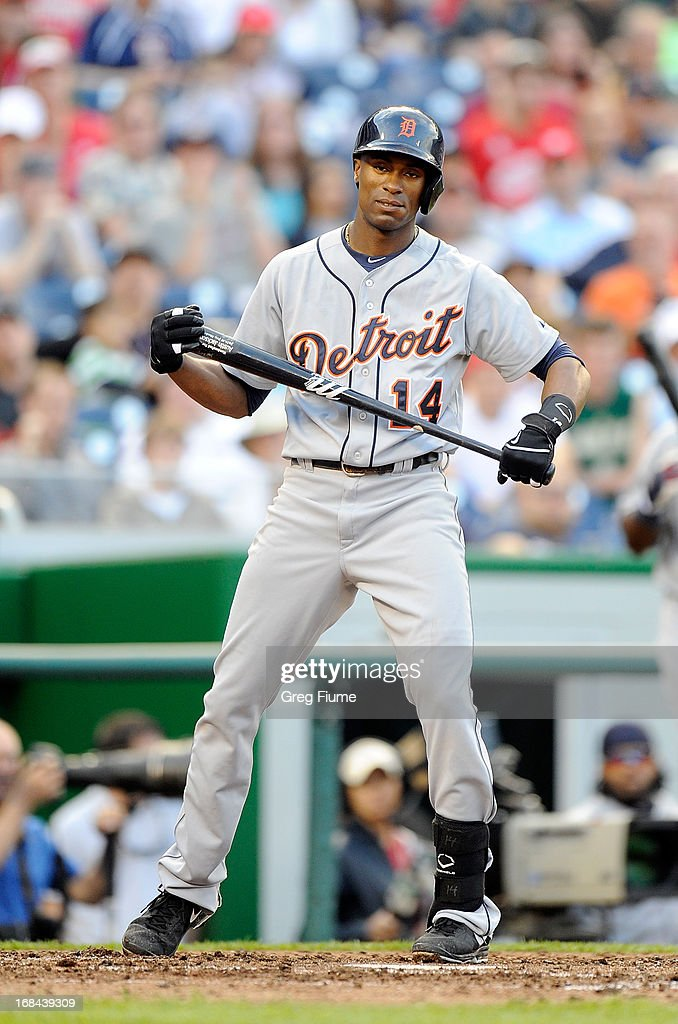 <a gi-track='captionPersonalityLinkClicked' href=/galleries/search?phrase=Austin+Jackson&family=editorial&specificpeople=608633 ng-click='$event.stopPropagation()'>Austin Jackson</a> #24 of the Detroit Tigers reacts after striking out in the ninth inning against the Washington Nationals at Nationals Park on May 9, 2013 in Washington, DC.