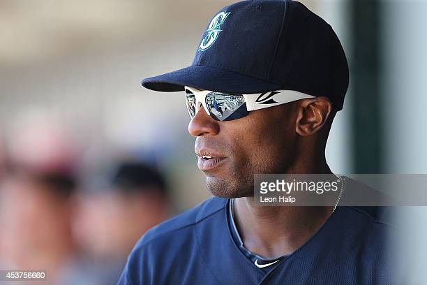 Austin Jackson of the Seattle Mariners watches the action from the dugout during the eighth inning of the game against the Detroit Tigers at Comerica...