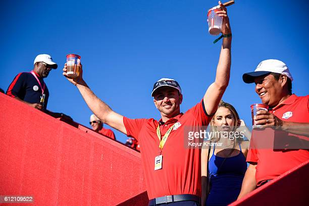 Austin Johnson and Notah Begay of Team USA celebrate their victory as they head towards the Closing Ceremony following singles matches of the 2016...