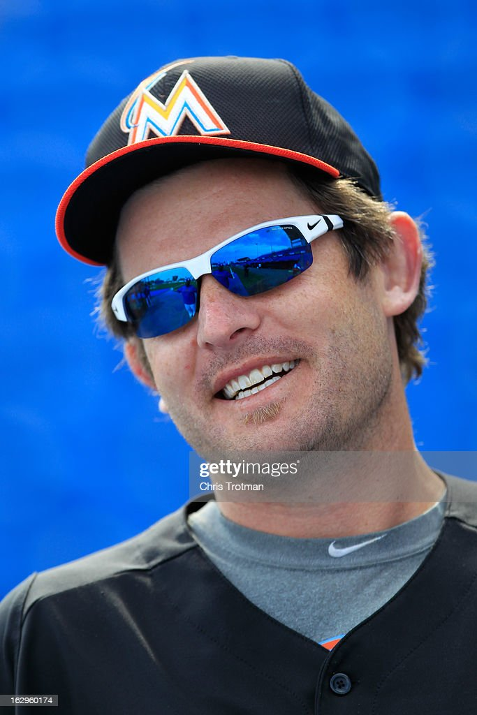 Austin Kearns #26 of the Miami Marlins looks on during batting practice prior to the game against the New York Mets at Tradition Field on March 2, 2013 in Port St. Lucie, Florida.