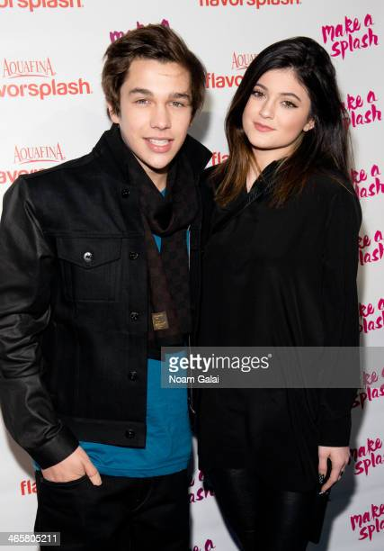 Austin Mahone and Kylie Jenner attend the Aquafina Flavorsplash concerts at Bryant Park on January 29 2014 in New York City