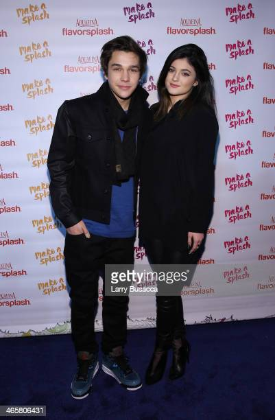 Austin Mahone and Kylie Jenner attend the Aquafina FlavorSplash PepsiCo Super Bowl XLVIII celebration at Bryant Park on January 29 2014 in New York...