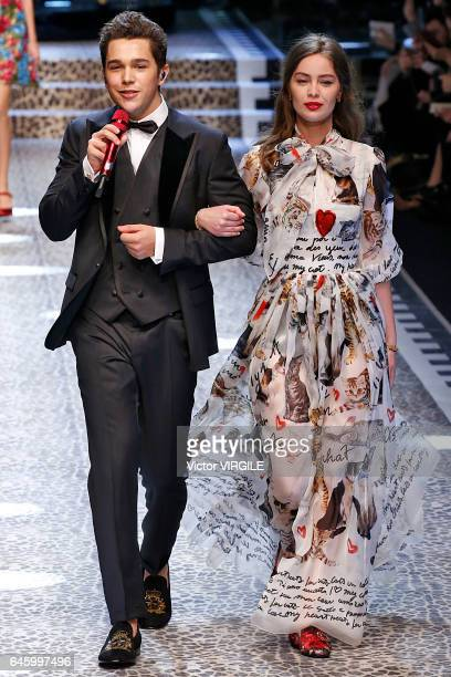 Austin Mahone and MarieAnge Casta walk the runway at the Dolce Gabbana Ready to Wear fashion show during Milan Fashion Week Fall/Winter 2017/18 on...