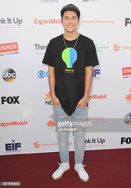 Austin Mahone arrives at the Entertainment Industry Foundation Hosts StarStudded Telecast For Teachers And Students at Barker Hangar on September 11...