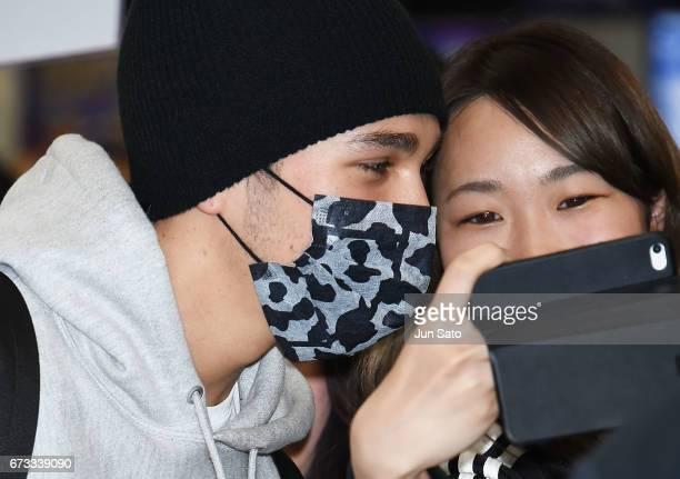 Austin Mahone is seen upon arrival at the Narita International Airport on April 26 2017 in Narita Japan
