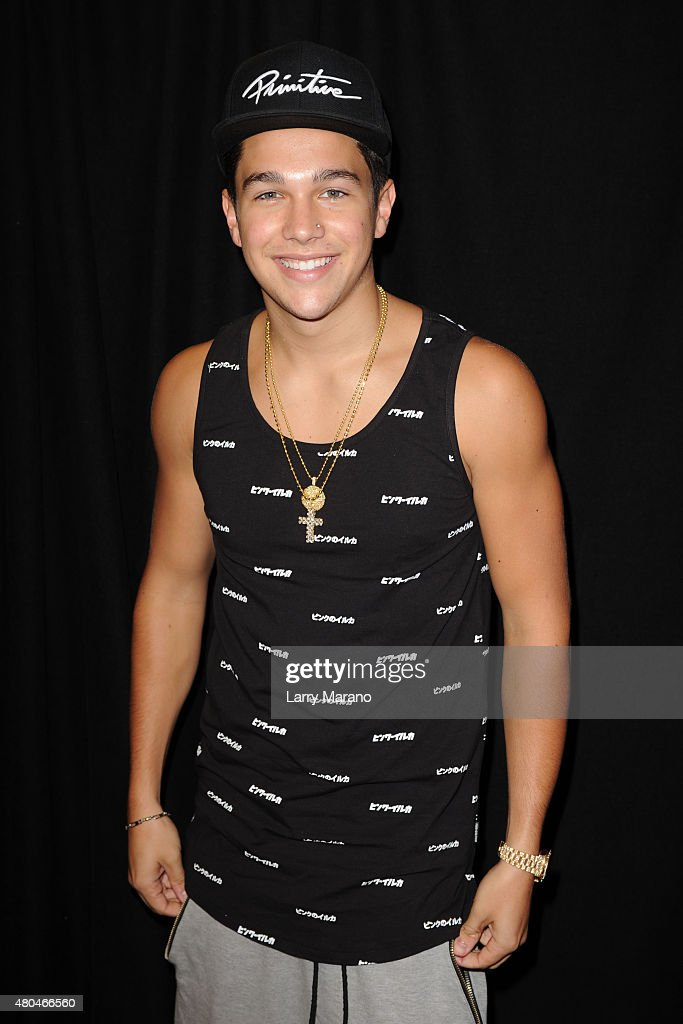 Austin Mahone poses backstage during the Y100 MackAPoolooza held at the Fontainebleau on July 11 2015 in Miami Beach Florida