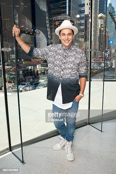 Austin Mahone visits 'Extra' at their New York studios at HM in Times Square on July 10 2015 in New York City