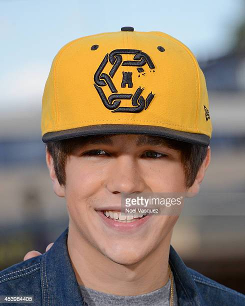 Austin Mahone visits 'Extra' at Universal Studios Hollywood on December 6 2013 in Universal City California