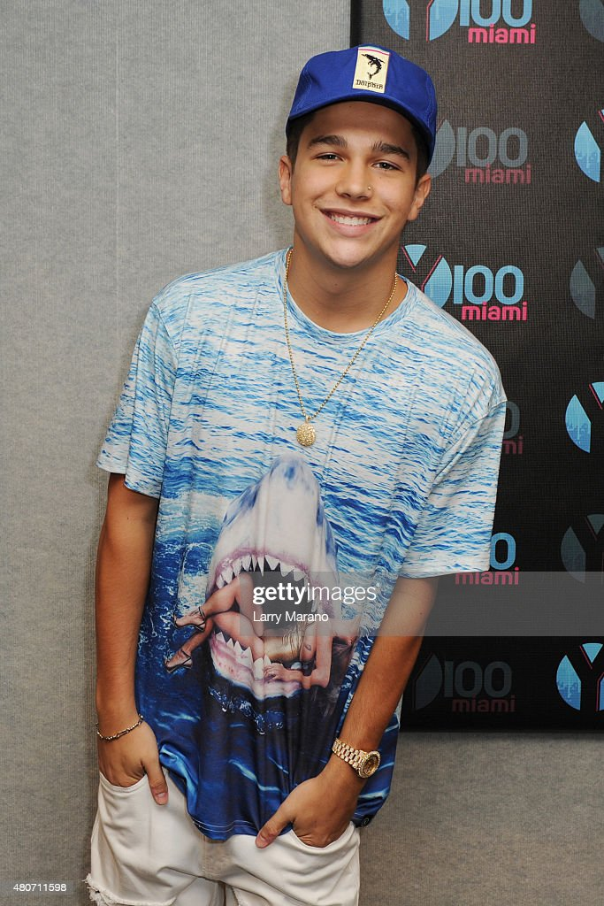 Austin Mahone visits Radio Station Y100 on July 14 2015 in Miami Florida