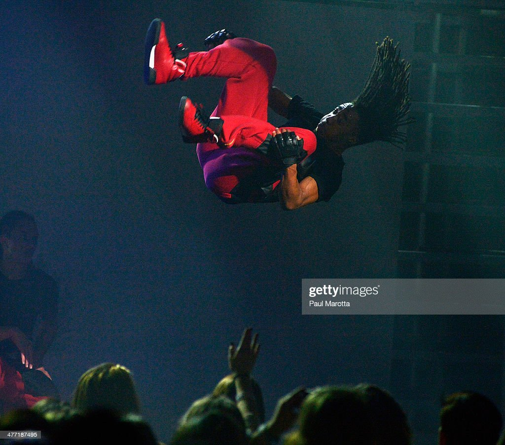 Austin Mahone's dancers perform at Orpheum Theater on March 7, 2014 in Boston, Massachusetts.