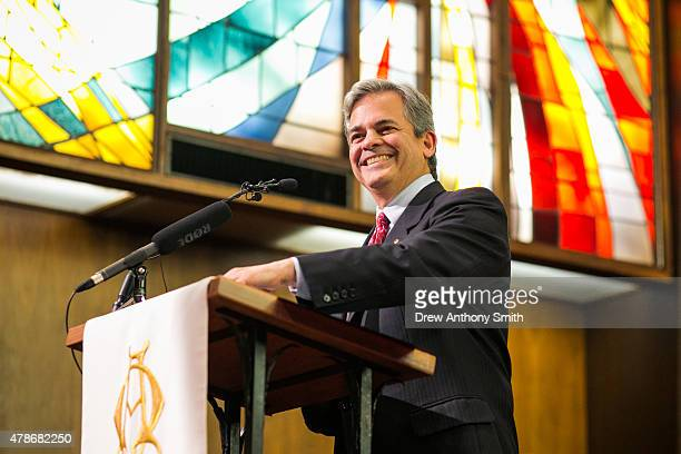 Austin mayor Steve Adler speaks to a crowded Central Presbyterian Church in celebration of Friday's samesex marriage announcement on June 26 2014 in...
