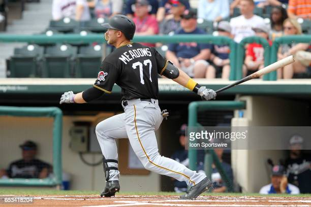 Austin Meadows of the Pirates at bat during the spring training game between the Pittsburgh Pirates and the Atlanta Braves on March 13 2017 at...