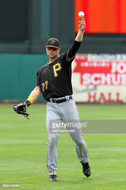 Austin Meadows of the Pirates warms up before the spring training game between the Pittsburgh Pirates and the Atlanta Braves on March 13 2017 at...