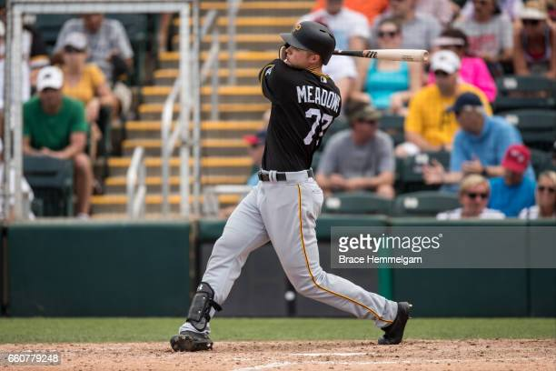Austin Meadows of the Pittsburgh Pirates bats against the Minnesota Twins on March 1 2017 at the CenturyLink Sports Complex in Fort Myers Florida
