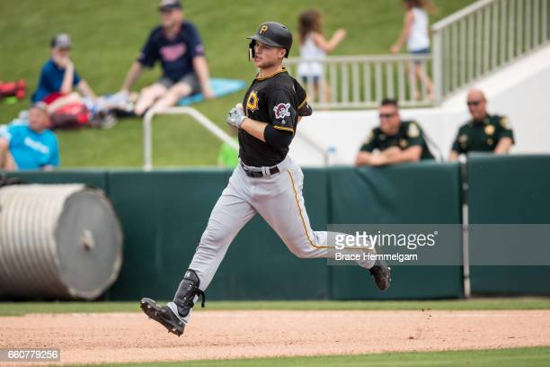 Austin Meadows of the Pittsburgh Pirates runs against the Minnesota Twins on March 1 2017 at the CenturyLink Sports Complex in Fort Myers Florida