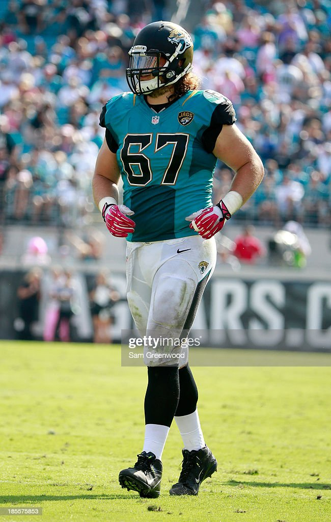 Austin Pasztor #67 of the Jacksonville Jaguars in action during the game against the San Diego Chargers at EverBank Field on October 20, 2013 in Jacksonville, Florida.