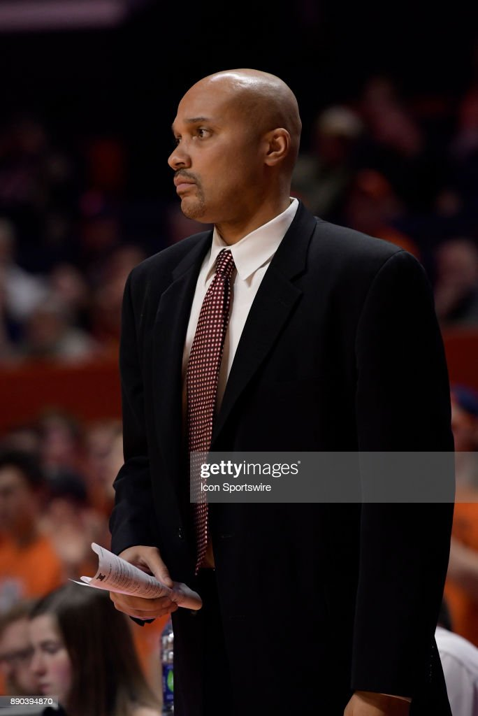Austin Peay Governors assistant coach Dalonte Hill looks on during the college basketball game between the Austin Peay Governors and the Illinois Fighting Illini on December 6, 2017, at the State Farm Center in Champaign, Illinois.