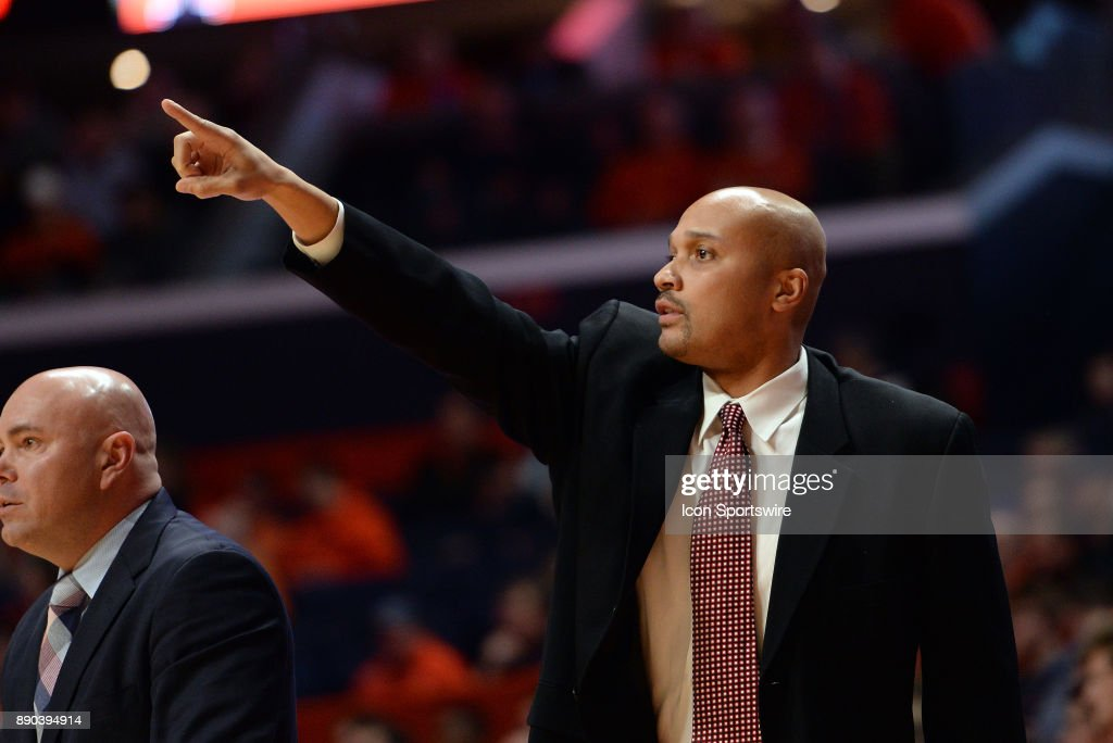 Austin Peay Governors assistant coach Dalonte Hill points directions to players during the college basketball game between the Austin Peay Governors and the Illinois Fighting Illini on December 6, 2017, at the State Farm Center in Champaign, Illinois.