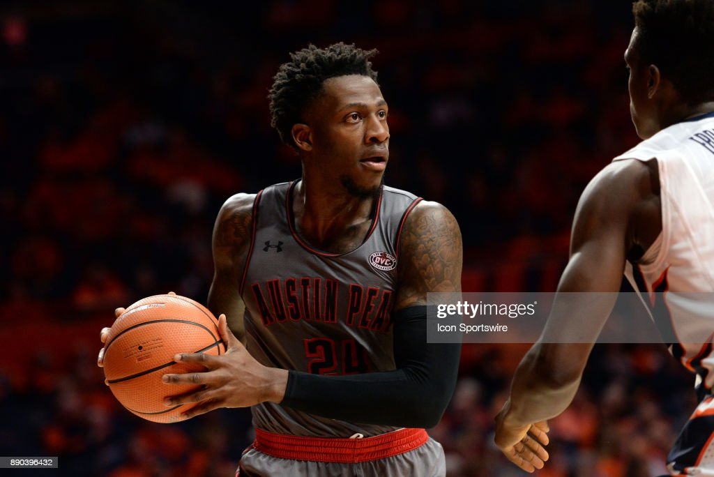 Austin Peay Governors Forward Averyl Ugba (24) holds on to the ball during the college basketball game between the Austin Peay Governors and the Illinois Fighting Illini on December 6, 2017, at the State Farm Center in Champaign, Illinois.