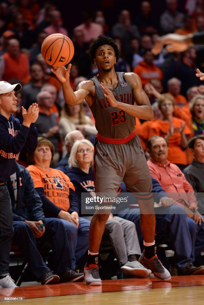 Austin Peay Governors Guard Steve Harris (23) tosses the ball in bounds during the college basketball game between the Austin Peay Governors and the Illinois Fighting Illini on December 6, 2017, at the State Farm Center in Champaign, Illinois.