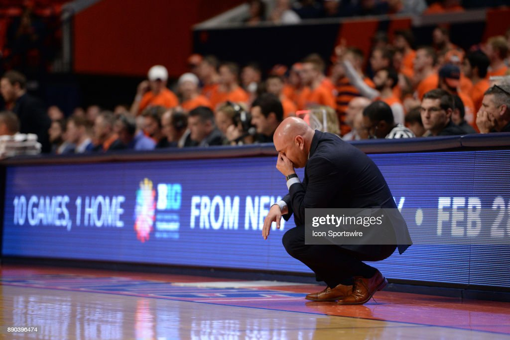Austin Peay Governors head coach Matt Figger puts his hand in his palm after a turnover during the college basketball game between the Austin Peay Governors and the Illinois Fighting Illini on December 6, 2017, at the State Farm Center in Champaign, Illinois.