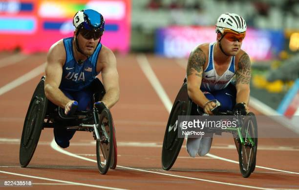LR Austin Pruitt of USA and Ben Rowlings of Great Britain compete Men's 400m T34 Final during World Para Athletics Championships Day Three at London...