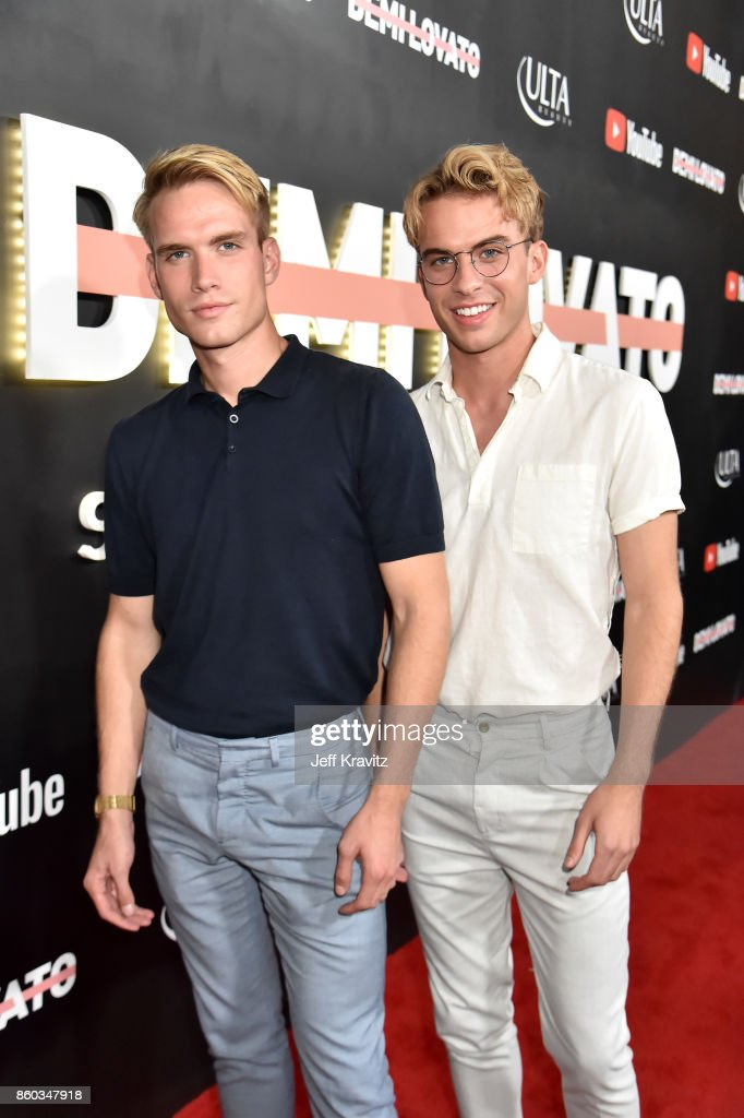 Austin Rhodes (L) and Aaron Rhodes attend the 'Demi Lovato: Simply Complicated' YouTube premiere at The Fonda Theatre on October 11, 2017 in Los Angeles, California.
