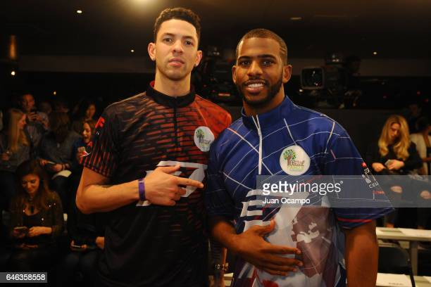 Austin Rivers and Chris Paul of the LA Clippers pose for a photo during the State Farm CP3 PBA Celebrity Invitational hosted by Los Angeles Clippers...