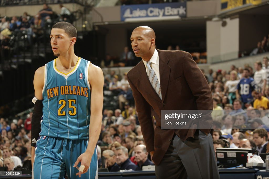 Austin Rivers #25 and Head Coach Monty Williams of the New Orleans Hornets look on November 21, 2012 at Bankers Life Fieldhouse in Indianapolis, Indiana.
