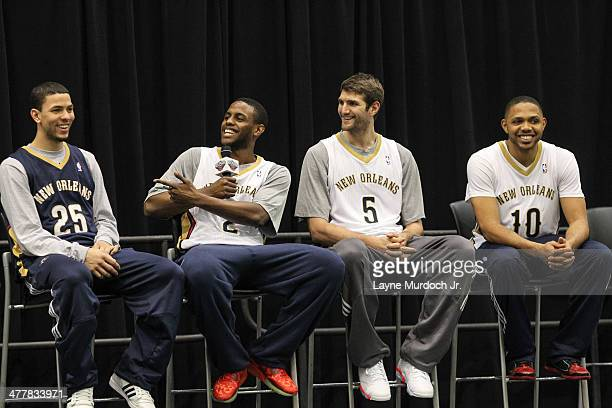 Austin Rivers Darius Miller Jeff Withey and Eric Gordon of the New Orleans Pelicans join teammates as they host a season ticket holders event on...