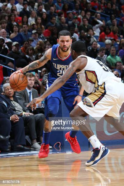 Austin Rivers of the LA Clippers handles the ball against the New Orleans Pelicans on November 11 2017 at Smoothie King Center in New Orleans...