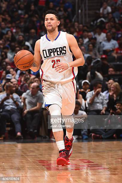Austin Rivers of the LA Clippers handles the ball against the Portland Trail Blazers on November 09 2016 at STAPLES Center in Los Angeles California...